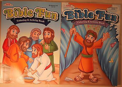 Lot of 2 Bible Fun Coloring & Activity Books (New) Christian Coloring Books