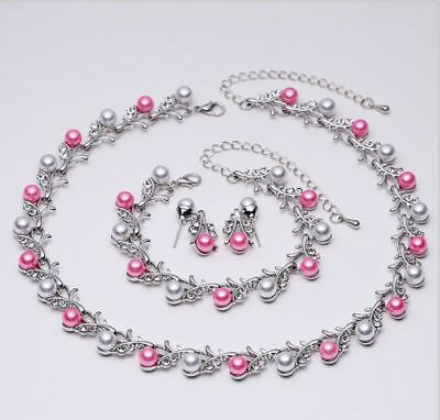 Pink & White Faux Pearl Diamante Crystal Choker Necklace, Earrings  Bracelet Set