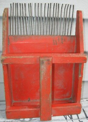 Vintage Wood & Metal Blueberry/cranberry Rake/scoop In Orange Paint