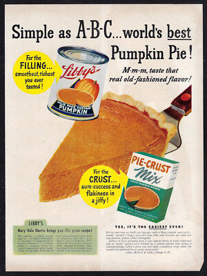 Vintage 1949 LIBBY'S PUMPKIN PIE Ad with Mary Hale Martin Recipe in the Ad