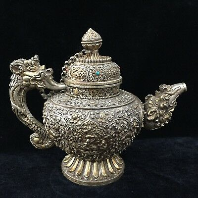 Rare Chinese Tibet Silver Handwork Fairy Dragon Carved Flower Antique Big Teapot