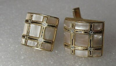 Vintage mens Gold plate faux Mother of pearl Glass Cuff links Spain