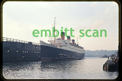 Original Slide, Cunard Line Ocean Liner RMS Queen Mary at New York, c. 1960