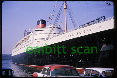 Original Slide, Cunard Line Ocean Liner RMS Queen Elizabeth at New York, 1965