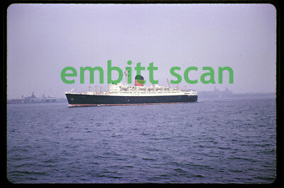 Original Slide, Cunard Line Ocean Liner RMS Sylvania in New York Harbor, 1960s