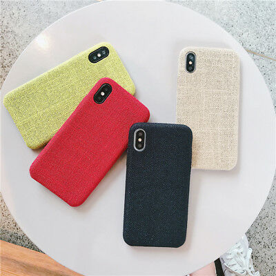 For iPhone X Xr Xs Max 6 6S 7 8 Plus Phone Case Linen Cloth Protect Soft Cover