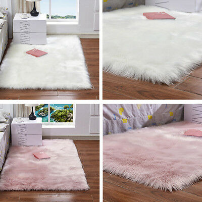 Fluffy Faux Fur Sheepskin Rug Floor Mat Extra Thick Chair Cover Blanket 60*60CM