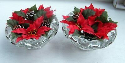 Vintage Pair French J.G. Durand & Cie Ingrid Glass Christmas Candle Holders