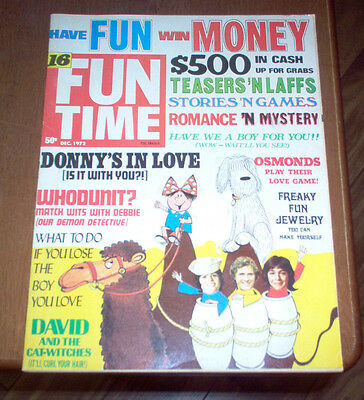 Fun Time Magazine 1972 Donny Osmond Brothers David Cassidy Teen Music Vintage