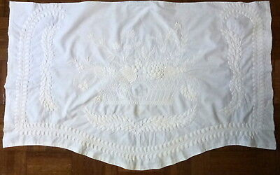 "Antique 1815 signed Trapunto Quilted White Cotton 36"" Bed Bolster Wedding Cover"