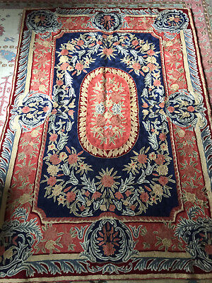 "Chain Stitch Embroidered Wool Floral Rug 47 1/2"" x 68"" or Wall Hanging"