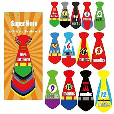 Super Hero Monthly Baby Stickers Newborn MileStone NeckTie 0-12 Months Sticker +