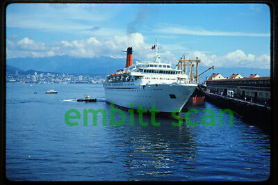 Original Slide, Cunard Line Cruise Ship Cunard Adventurer at Vancouver BC, 1976