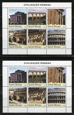 Guinea Bissau 2003 Ancient Roman Sites Lot Of Two Sheets Mint Nh