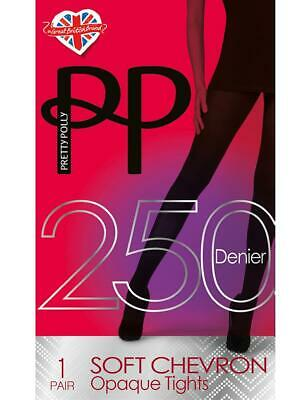 Pretty Polly Chevron Textured 250 Denier Tights - Super Thick Warm Tights