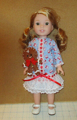 """Christmas Dress & Ginger Bread Man For American Girl Doll Wellie Wishers 14.5"""""""