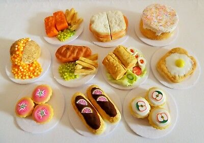Dolls House Miniature Food * 10 X Mixed Sweet + Savoury Plates * Combined P+P