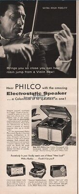 1954 Philco 1955 High Fidelity Phonograph Electrostatic Speaker Violinist Ad