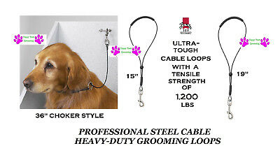 Top Performance Pet Grooming CABLE LOOP Noose RESTRAINT For Table Arm,Bath Tub