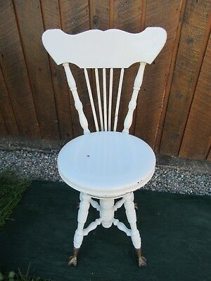 VICTORIAN Antique Wood PIANO STOOL Adjustable Height Beautiful Legs + Back Rest