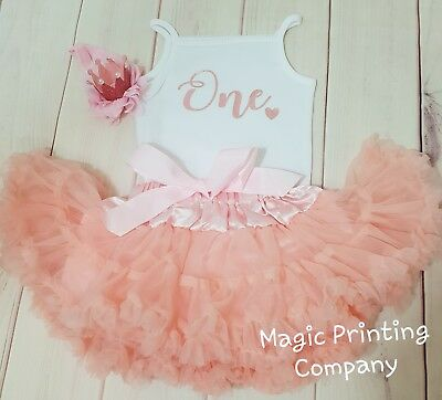 Girls 1st  Birthday outfit Pink Rose Gold Sparkle Cake smash baby dress top ONE