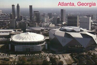 Mercedes-Benz Stadium & Georgia Dome Atlanta GA, NFL Football Falcons - Postcard