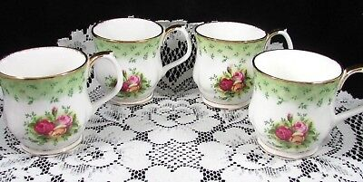 Royal Albert Old Country Roses Green Set Of 4 Coffee Cups Mu