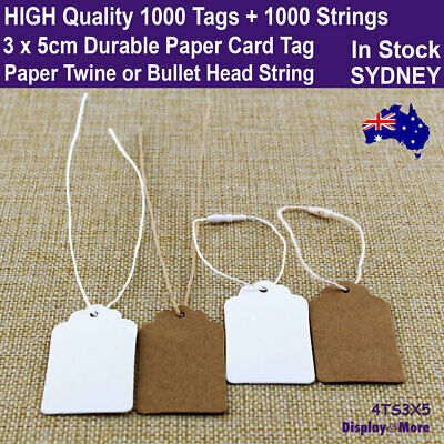 NEW 200 KRAFT Paper Card Price TAGS 3x5cm + 200 Strings | AUSSIE Stock in Sydney