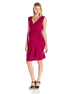 Lilac Maternity Women's Maternity Brynley Faux Wrap Dress, Magenta, X-Large