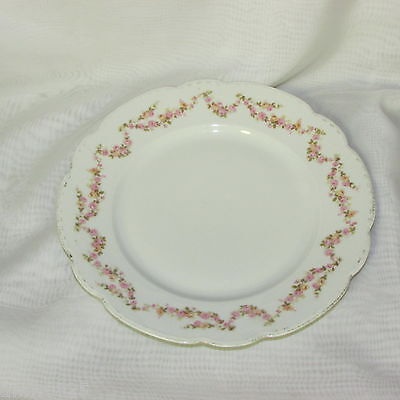 """Antique Mz Austria Bridal Rose Dinner Plate 9 3/4"""" Pink Swags #1 Vintage China"""