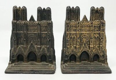 Pair Vintage Antique Cast Iron Notre Dame Cathedral Bookends SCP