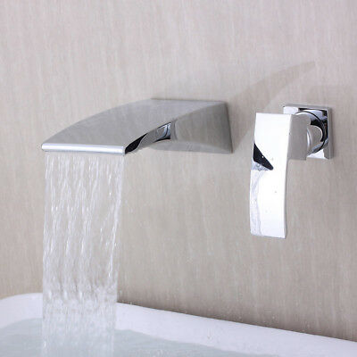 Wall Mount Waterfall Spout Bathroom Sink Faucet Chrome Bathtub Tub Mixer Tap US