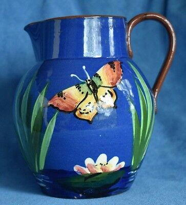 HTF Antique English Royal TORQUAY Pottery BUTTERFLY Blue Red Ware Water Pitcher