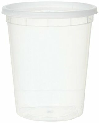 32-Oz Plastic Soup Food Container w/ Lids Restaurant Quality Home 12 Pack