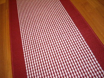 Broadway Hallway Runner Hall Runner Rug Modern Red Cream 140cm Long 47411 P