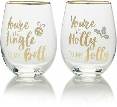 Mikasa Cheers Set Of 2 Stemless Christmas Wine Glasses