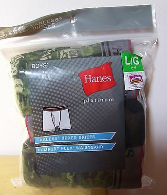 Boys Hanes 3 Pack Platinum Sports Camo Solid Tagless Boxer Briefs Sz L 14/16 NIP