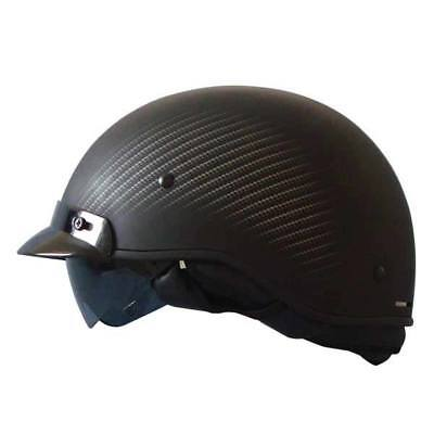 New Zoan Matte Black Carbon Fiber Motorcycle Half Helmet Large Retractable Visor