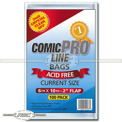 "100 - Comic Pro Line Current 2-Mil Clear OPP Bags - 6-7/8"" x 10-1/2"" + 2"" Flap!"