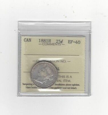 **1881H**, ICCS Graded Canadian, 25 Cent, **EF-40**