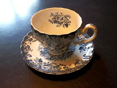 Blue Coaching Scenes Tea Cup & Saucer - Johnson Bros Hunting Country Ironstone