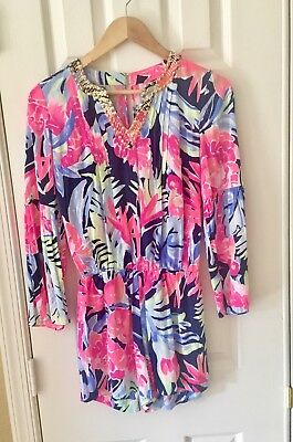 c6f50f5b315a NEW Lilly Pulitzer Arielle Romper High Tide Navy Tropicolada XXS Long Sleeve
