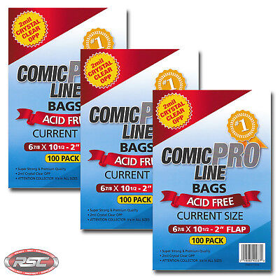 """300 - Comic Pro Line CURRENT 2-Mil Clear OPP Bags - 6-7/8"""" x 10-1/2"""" + 2"""" Flap!"""