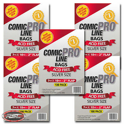 "500 - Comic Pro Line SILVER 2-Mil Clear OPP Bags - 7-1/4"" x 10-1/2"" + 2"" Flap!"
