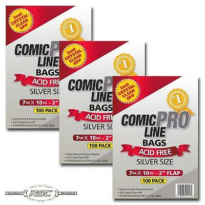 """300 - Comic Pro Line SILVER 2-Mil Clear OPP Bags - 7-1/4"""" x 10-1/2"""" + 2"""" Flap!"""