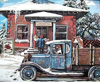 """Farm Truck at the Post Office Completed Paint by Number Pic.16"""" x 20"""" Unframed"""