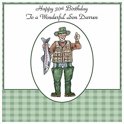 Mens Male Handmade Personalised Birthday Card Fish Funny Fishing Angeler Any Age