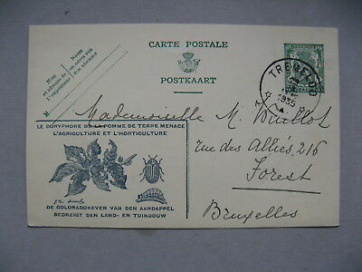 BELGIUM, ill. prestamped PC 1935, insect colorado beetle, patato agriculture