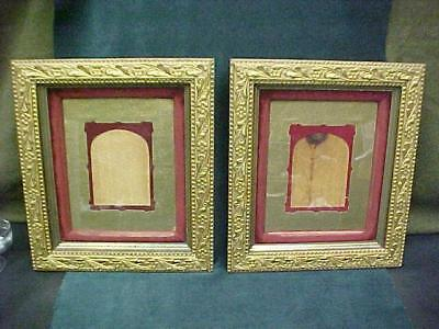 Pair Victorian Esthetic Gold Floral Stars Gesso Picture Frames Red Velvet Excell