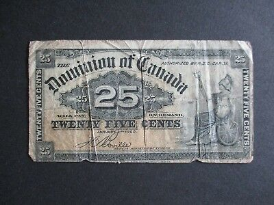 1900 Dominion Of Canada Circulated 25 Cents Fractional Currency Note